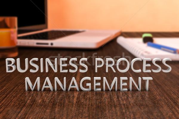 Iş süreç yönetim harfler ahşap büro Stok fotoğraf © Mazirama