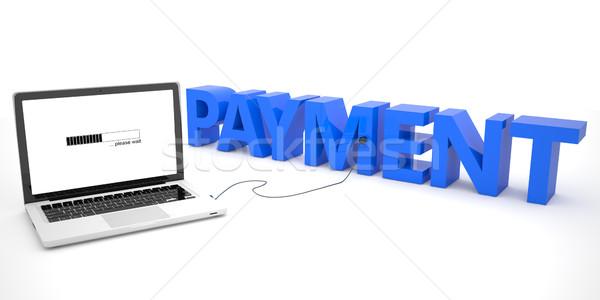 Bezahlung Laptop-Computer Wort weiß 3d render Illustration Stock foto © Mazirama