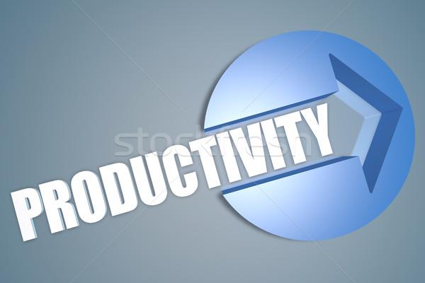 Foto stock: Produtividade · texto · 3d · render · ilustração · seta · círculo