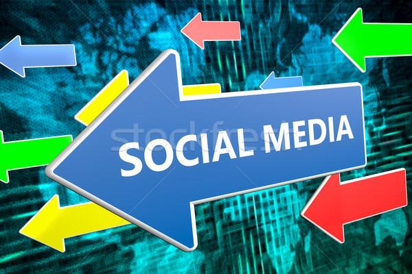 Stock fotó: Közösségi · média · szöveg · kék · nyíl · repülés · zöld
