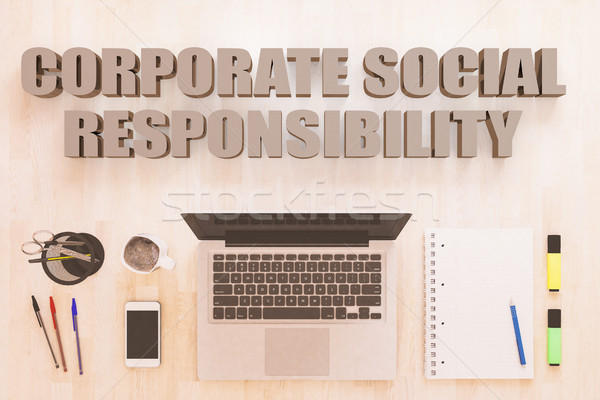 Kurumsal sosyal sorumluluk metin defter bilgisayar Stok fotoğraf © Mazirama