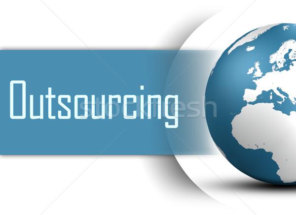 Outsourcing wereldbol witte business kaart wereld Stockfoto © Mazirama