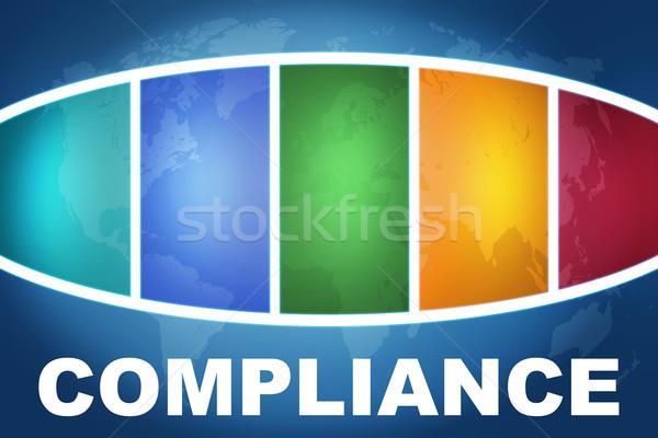 Betartás szöveg illusztráció kék színes világtérkép Stock fotó © Mazirama