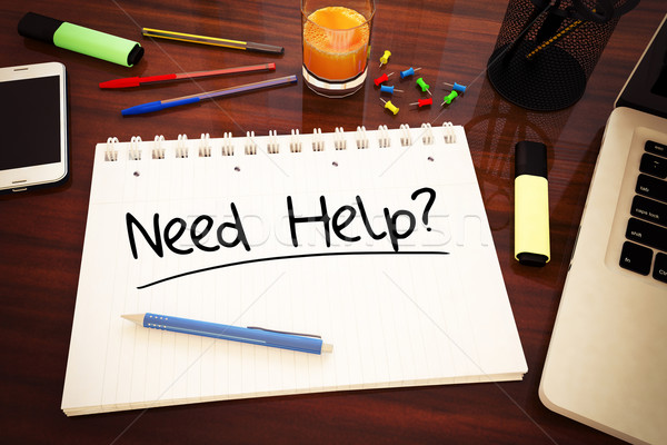Potrzeba pomoc tekst notebooka biurko Zdjęcia stock © Mazirama