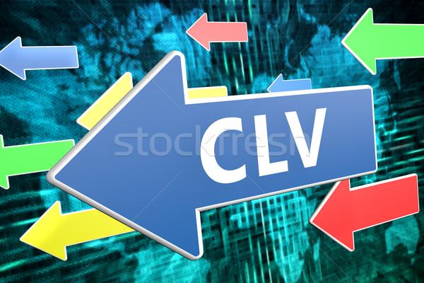 Klienta wartość tekst niebieski arrow pływające Zdjęcia stock © Mazirama