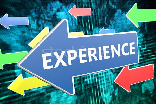 Erfahrung Text blau arrow unter grünen Stock foto © Mazirama