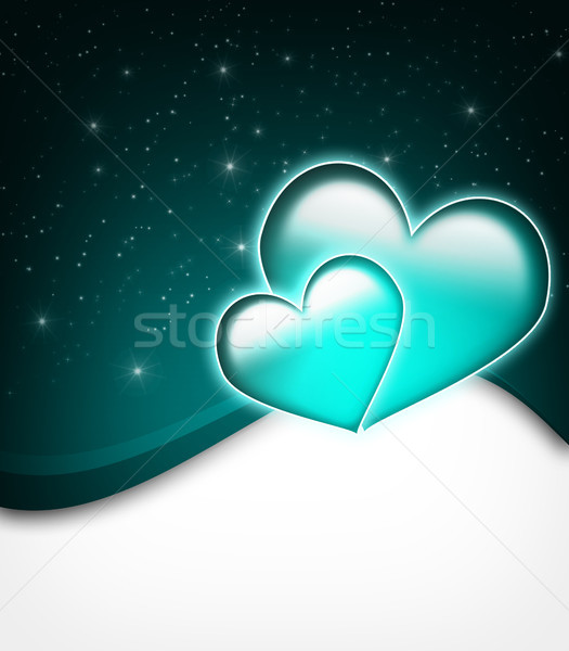 Sevgililer günü kart iki büyük kalpler Yıldız Stok fotoğraf © Mazirama