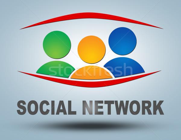 Közösségi háló kommunikáció felirat szöveg üzlet internet Stock fotó © Mazirama
