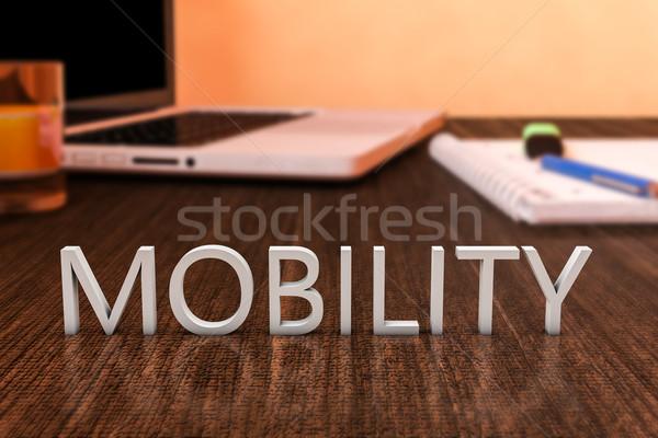 Mobilité lettres bois bureau ordinateur portable portable Photo stock © Mazirama