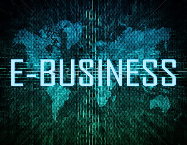 Tekst groene digitale wereldkaart business winkelen Stockfoto © Mazirama