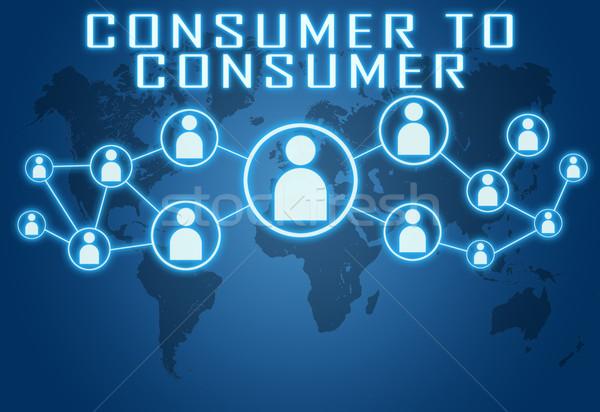 Fogyasztó kék világtérkép társasági ikonok internet Stock fotó © Mazirama