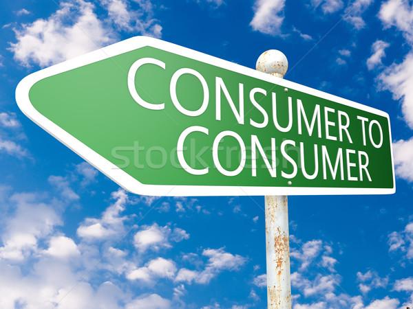 Consumatore segnale stradale illustrazione cielo blu nubi internet Foto d'archivio © Mazirama