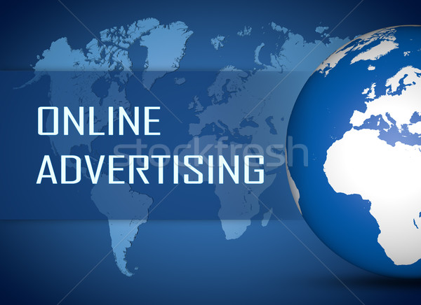 Online reclame wereldbol Blauw wereldkaart web Stockfoto © Mazirama