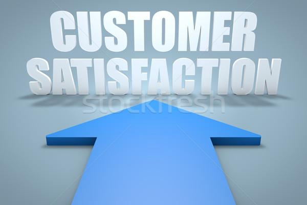 Satisfação do cliente 3d render azul seta indicação comunicação Foto stock © Mazirama