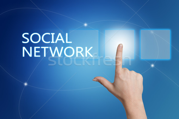 Stock fotó: Közösségi · háló · kéz · kisajtolás · gomb · interfész · kék
