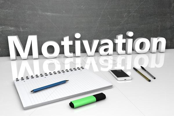 Motiváció szöveg tábla notebook tollak mobiltelefon Stock fotó © Mazirama
