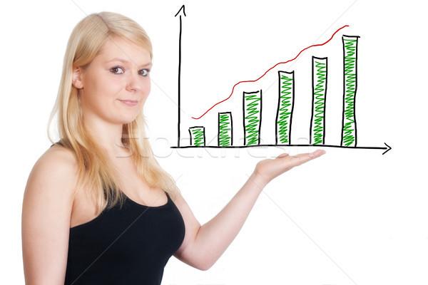 Foto stock: Presente · diagrama · tabla · mujer · de · negocios · oficina