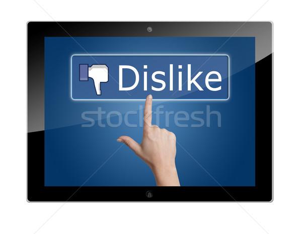 Tablet sevmemek düğme sosyal medya iş Stok fotoğraf © Mazirama