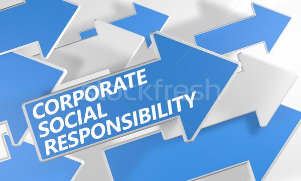 企業 社会 責任 3dのレンダリング 青 白 ストックフォト © Mazirama