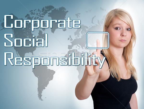 Vállalati társasági felelősség fiatal nő sajtó digitális Stock fotó © Mazirama