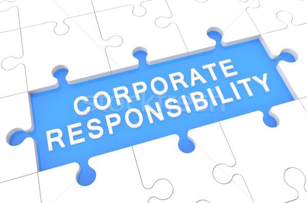 Corporate responsabilità puzzle rendering 3d illustrazione parola Foto d'archivio © Mazirama