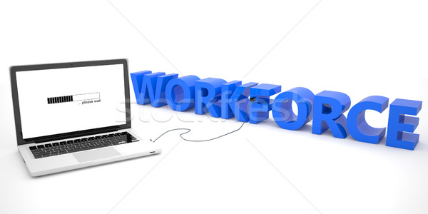 Belegschaft Laptop-Computer Wort weiß 3d render Illustration Stock foto © Mazirama