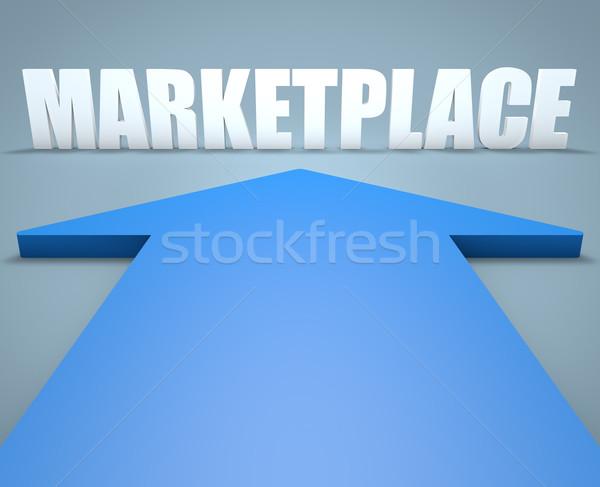 Piactér 3d render kék nyíl mutat pénz Stock fotó © Mazirama
