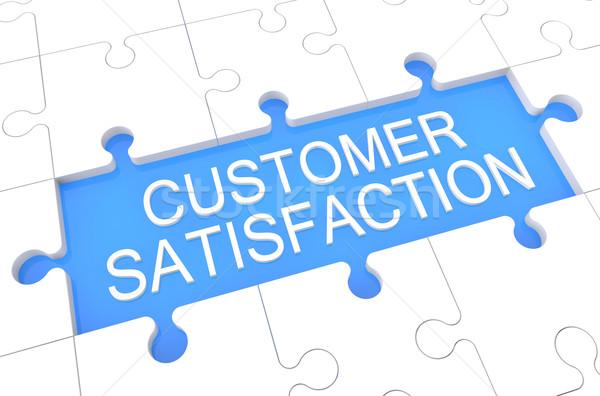 Satisfacción del cliente rompecabezas 3d ilustración palabra azul Foto stock © Mazirama