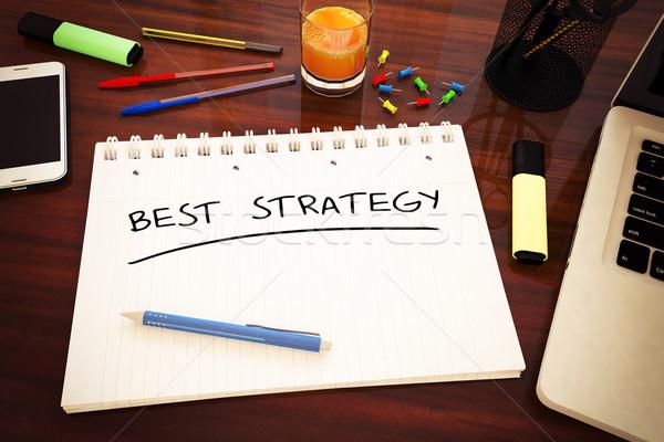 Meilleur stratégie texte portable bureau Photo stock © Mazirama