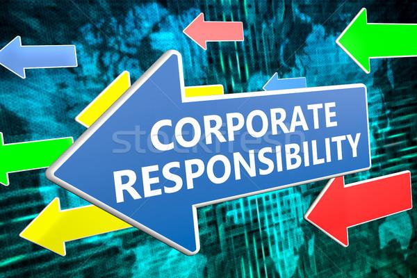 Kurumsal sorumluluk metin mavi ok uçan Stok fotoğraf © Mazirama
