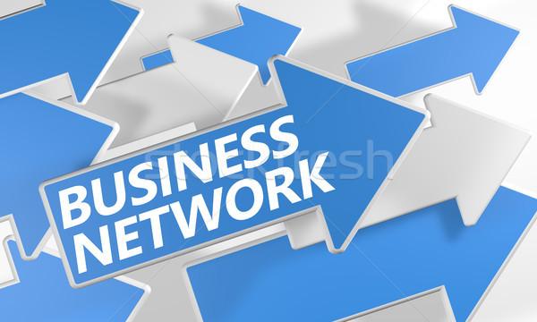 Business network 3d niebieski biały pływające Zdjęcia stock © Mazirama