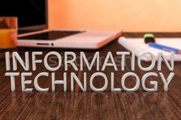 Bilgi teknolojisi harfler ahşap büro dizüstü bilgisayar defter Stok fotoğraf © Mazirama