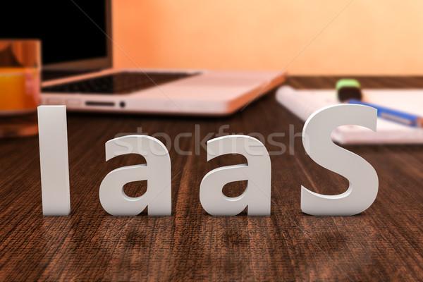 Infrastruktúra szolgáltatás levelek fából készült asztal laptop számítógép Stock fotó © Mazirama