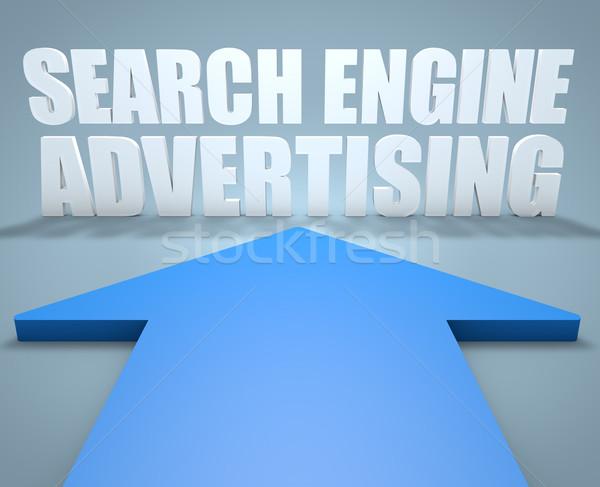 Сток-фото: поисковая · реклама · 3d · визуализации · синий · стрелка · указывая