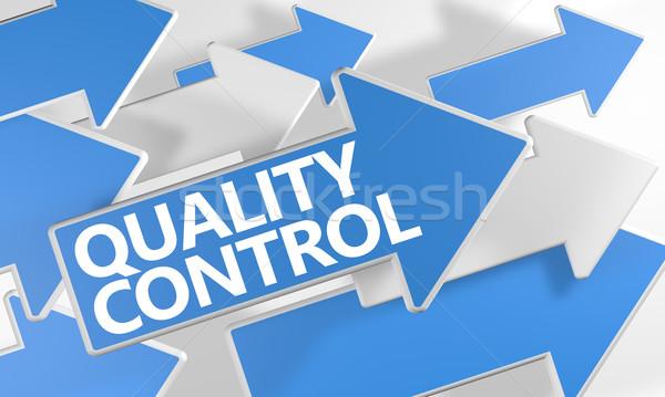 Kwaliteitscontrole 3d render Blauw witte pijlen vliegen Stockfoto © Mazirama