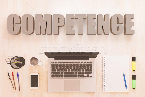Competência texto caderno computador canetas Foto stock © Mazirama