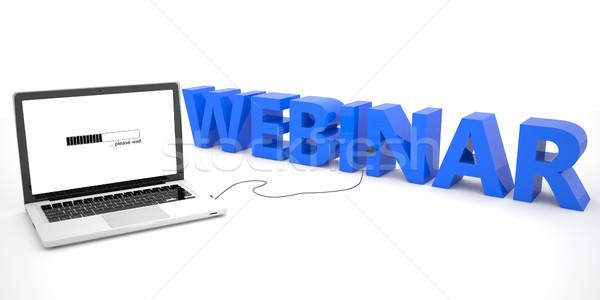 Webinar laptop számítógép szó fehér 3d render illusztráció Stock fotó © Mazirama