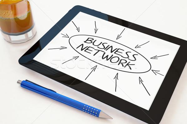 Бизнес-сеть текста мобильных столе 3d визуализации Сток-фото © Mazirama
