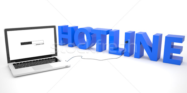 Stockfoto: Hotline · laptop · computer · woord · witte · 3d · render · illustratie