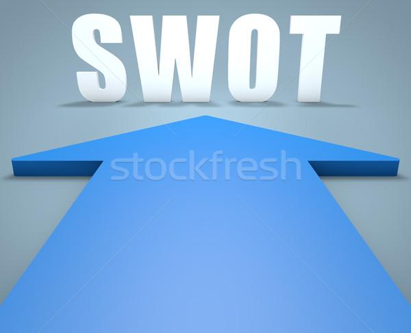 Lehetőségek fenyegetések 3d render kék nyíl mutat Stock fotó © Mazirama