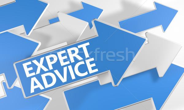 Expert conseil rendu 3d bleu blanche Photo stock © Mazirama