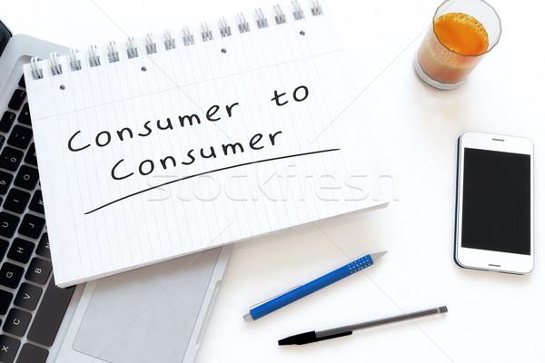 Consument tekst notebook bureau 3d render Stockfoto © Mazirama