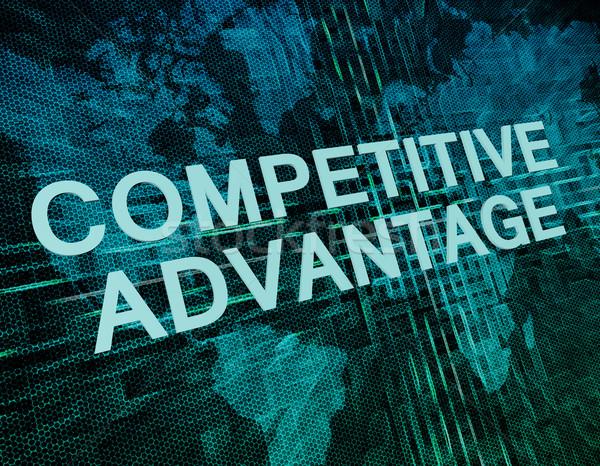 Konkurencyjny tekst zielone cyfrowe mapie świata Zdjęcia stock © Mazirama