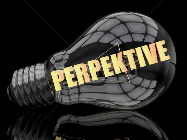 Palabra perspectiva bombilla negro texto 3d Foto stock © Mazirama