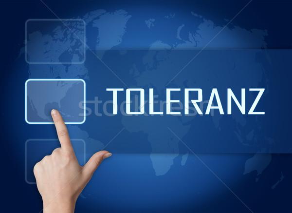 Woord tolerantie interface wereldkaart Blauw vrijheid Stockfoto © Mazirama