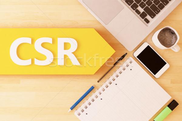 Corporate sozialen Verantwortung linear Text arrow Stock foto © Mazirama