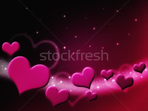 Sevgililer günü kart pembe kalpler Yıldız Stok fotoğraf © Mazirama