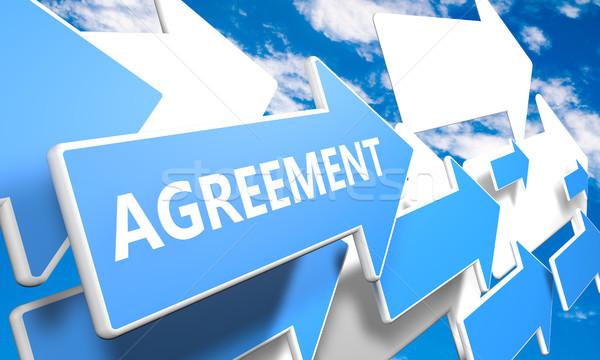Megállapodás 3d render kék fehér nyilak repülés Stock fotó © Mazirama