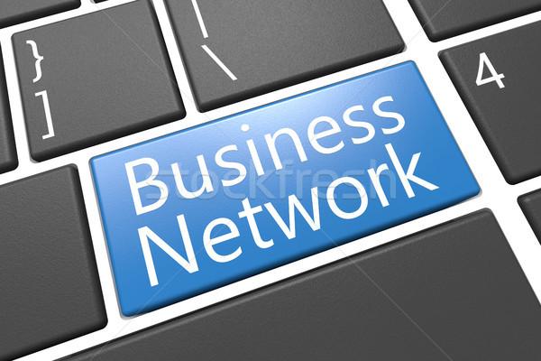 Business network klawiatury 3d ilustracja słowo niebieski Zdjęcia stock © Mazirama