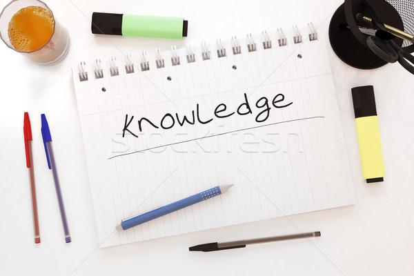 Kennis tekst notebook bureau 3d render Stockfoto © Mazirama